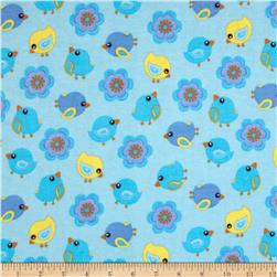 Flannel Tossed Birds & Flowers Blue