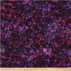 Bali Batiks Handpaints Large Floral Wildberry