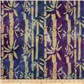 Indian Batik Metallic Bamboo Cream/Purple