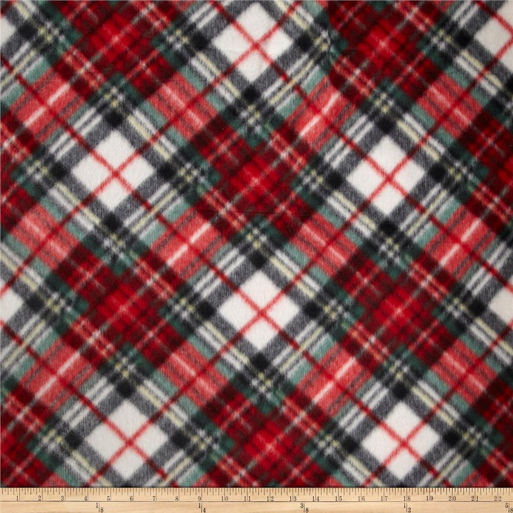 Printed Fleece Tartan Plaid Red