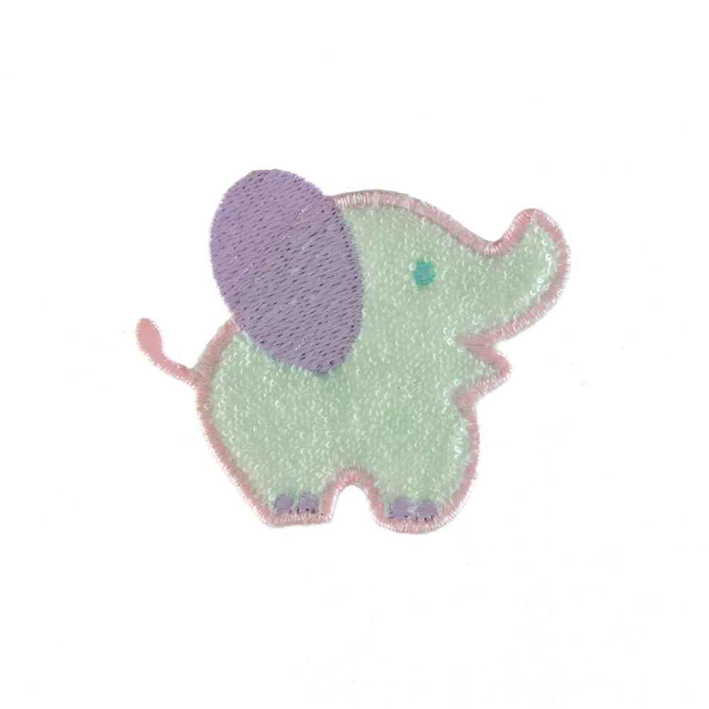 Elephant Terry Applique Mint Green