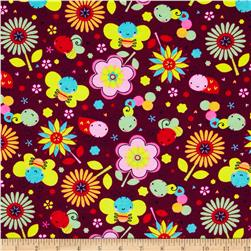 Flannel Bugs & Flowers Burgundy
