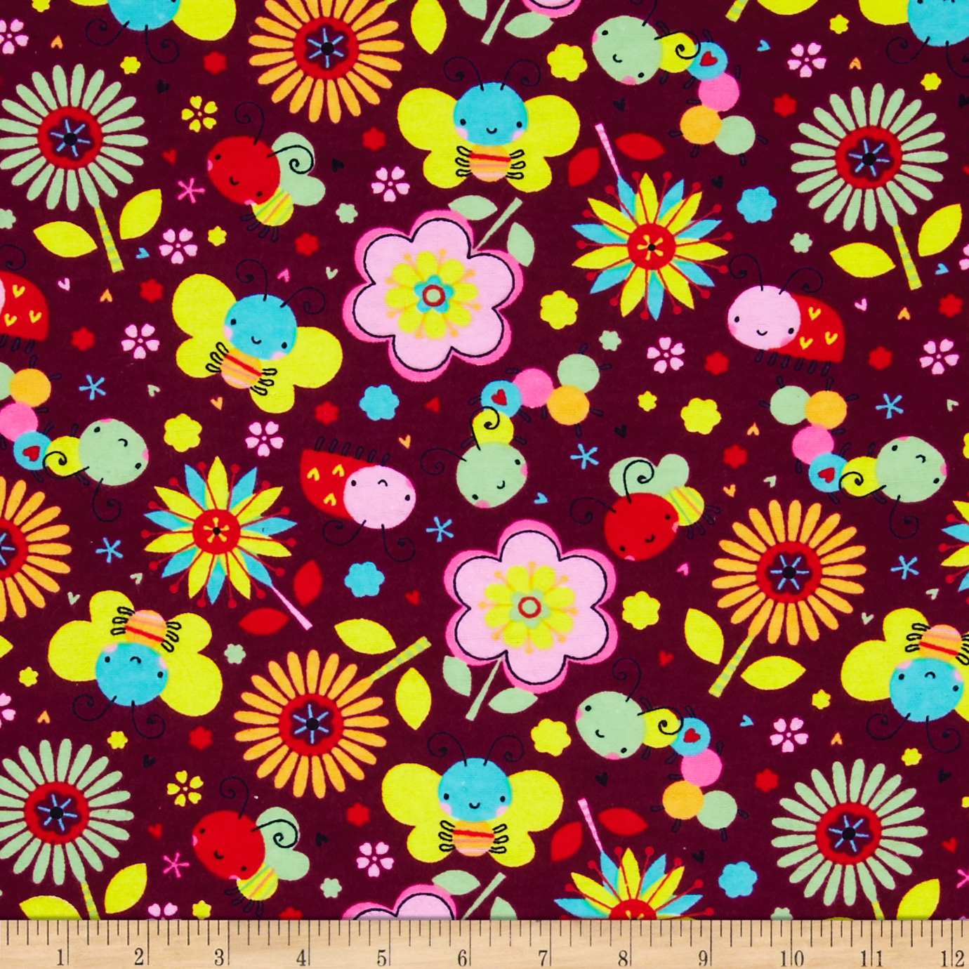 Flannel Bugs & Flowers Burgundy Fabric
