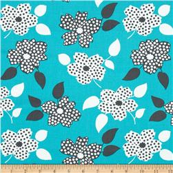 Mimosa Polka Dot Flower Aqua Fabric