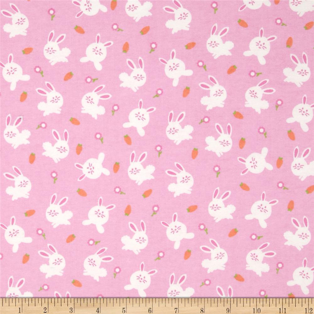 Michael Miller Baby Flannel Bunny Love Pink
