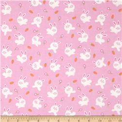 Michael Miller Baby Flannel Bunny Love Pink Fabric