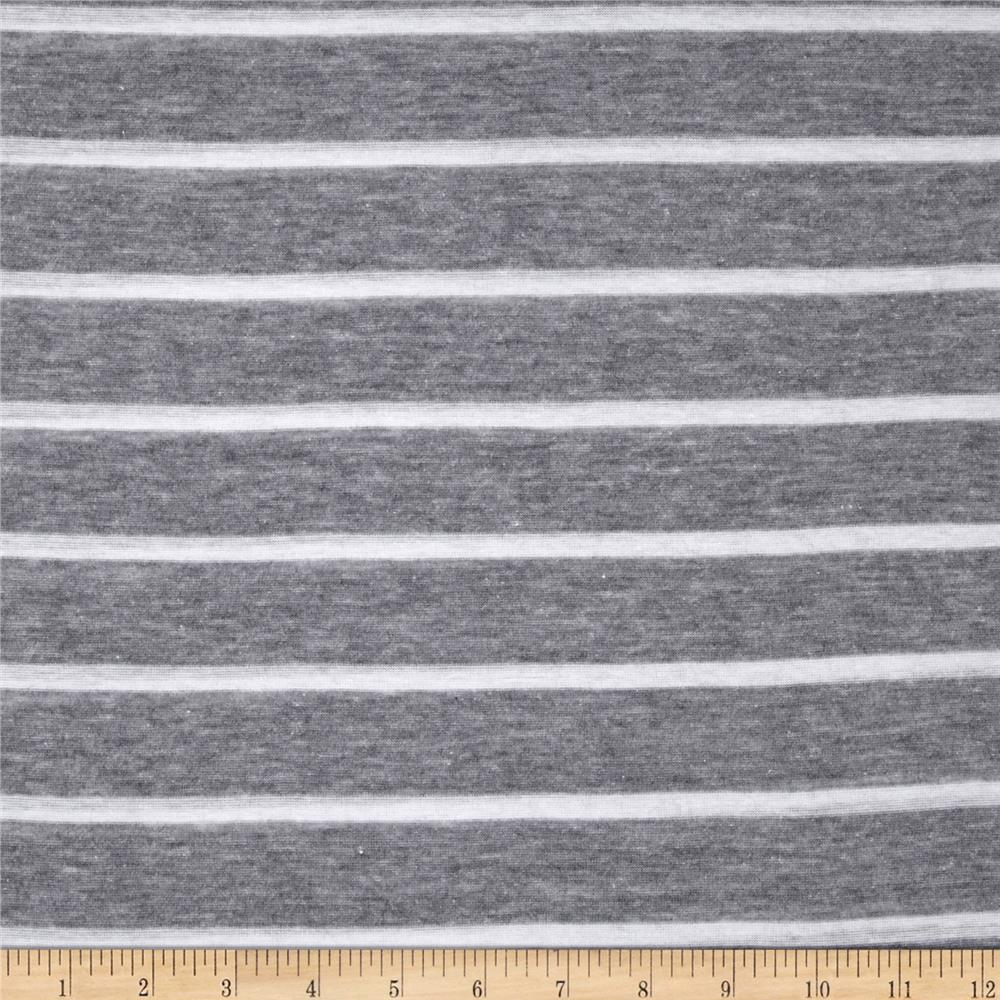 Heather Yarn Dyed Jersey Knit Stripe Ash Grey/White