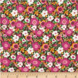 Polyester Voile  Floral Pink/Green/Brown