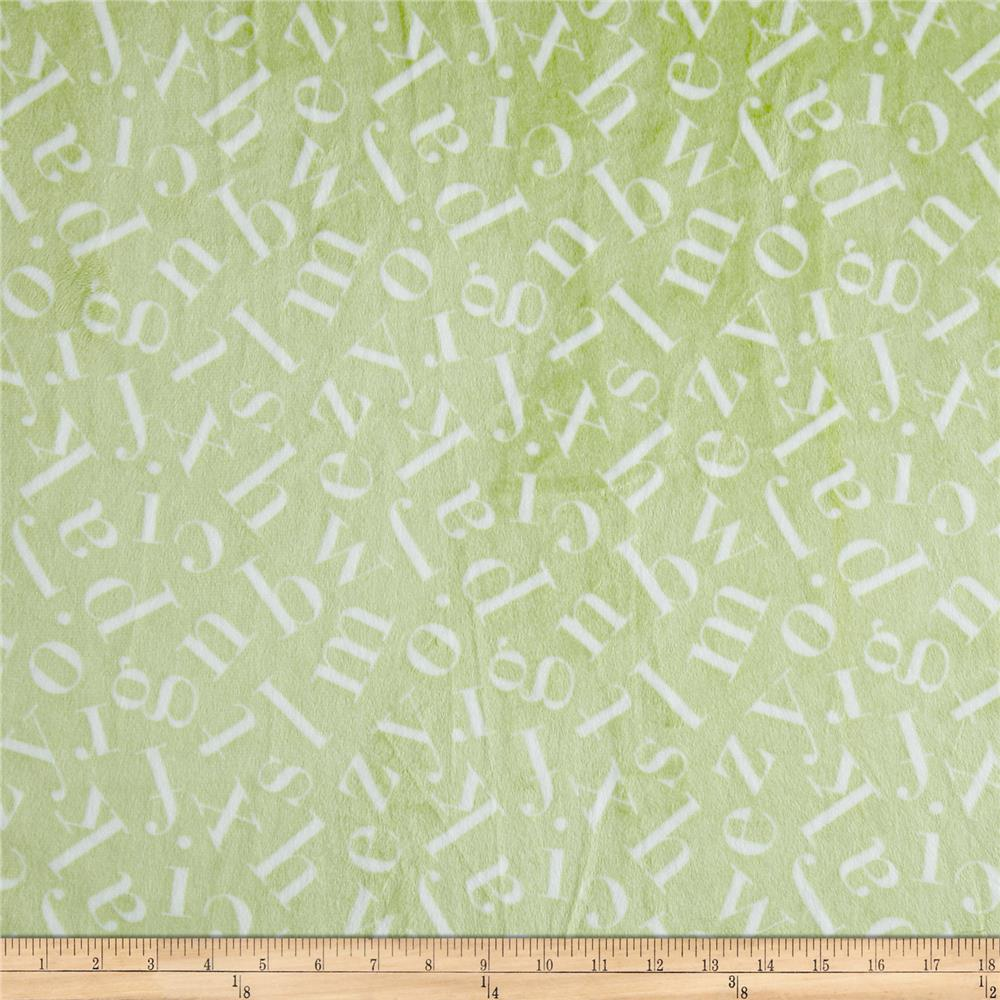Minky Tossed Letters Green