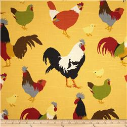 Duralee Roosters Slub Yellow Fabric