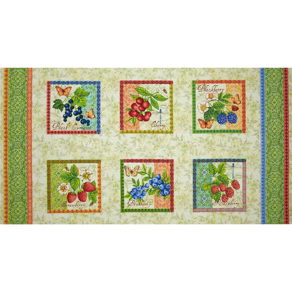 Berry Cobbler Blocks Panel Cream
