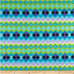 Novelty Fleece Argyle Print Lime/Black/Purple/Turquoise