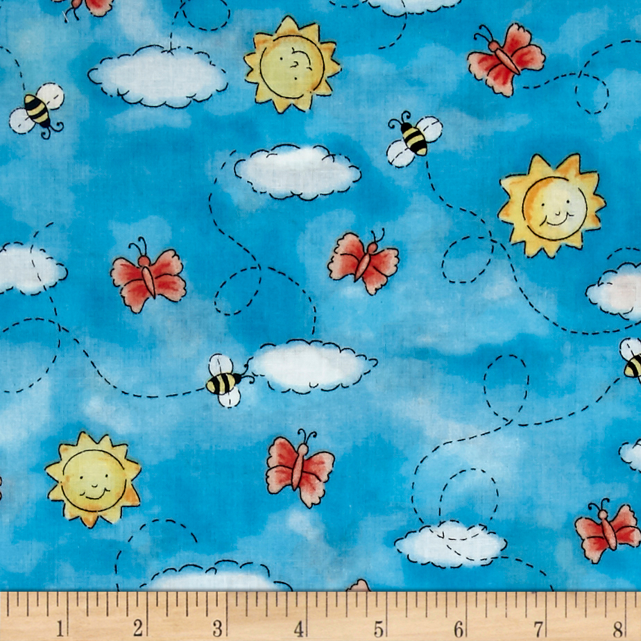 Purr-Fect Garden Butterflies & Bees Blue Fabric by Exclusively Quilters in USA