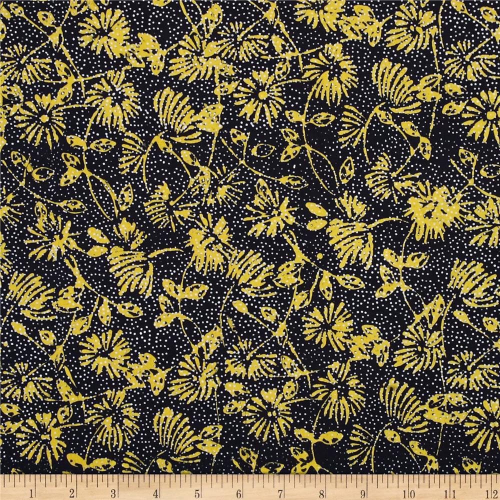 Island Batik Yellow Submarine Flowers Black/Yellow