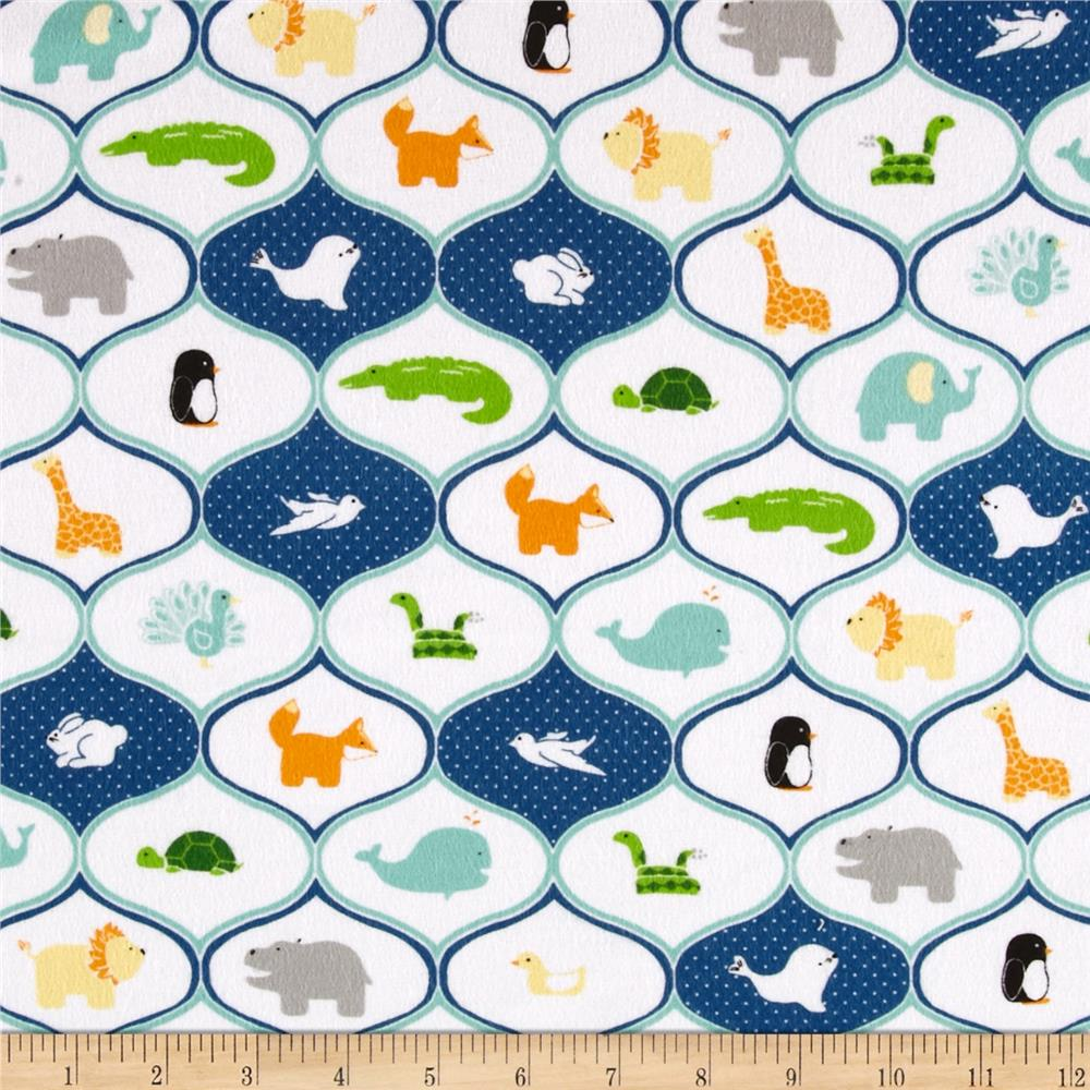 Riley Blake Little Ark Flannel Friends Blue