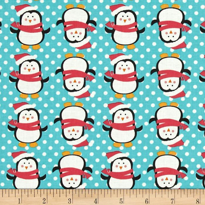 Fabric Freedom Christmas Character Penguins & Dots Turquoise