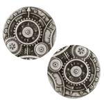Metal Button 7/8'' Mechanism Antique Silver