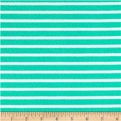 Liverpool Double Knit Print Stripes Mint/White