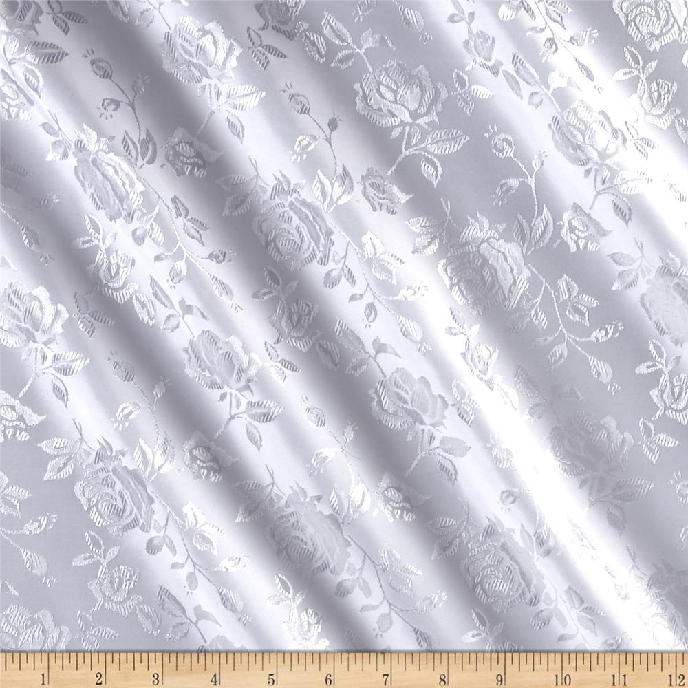 Rose Satin Jaquard White Fabric