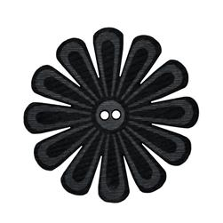 2.25'' Leather Button Mum Black