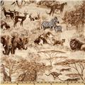 Timeless Treasures African Safari Wild Animals Sepia