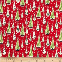 Christmas Retro Trees Red Fabric