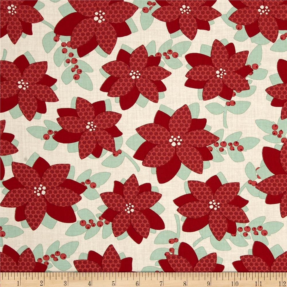 Moda Winterberry Poinsettia Snow