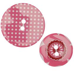 Fashion Buttons 1.00'', 1 3/8'' Coordinates Pansy Pink