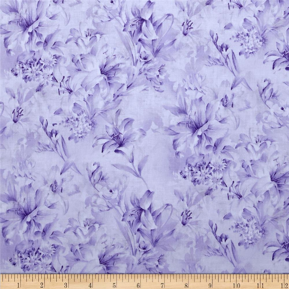 "118"" Wide Day Lily Quilt Backing Floral Lavender"