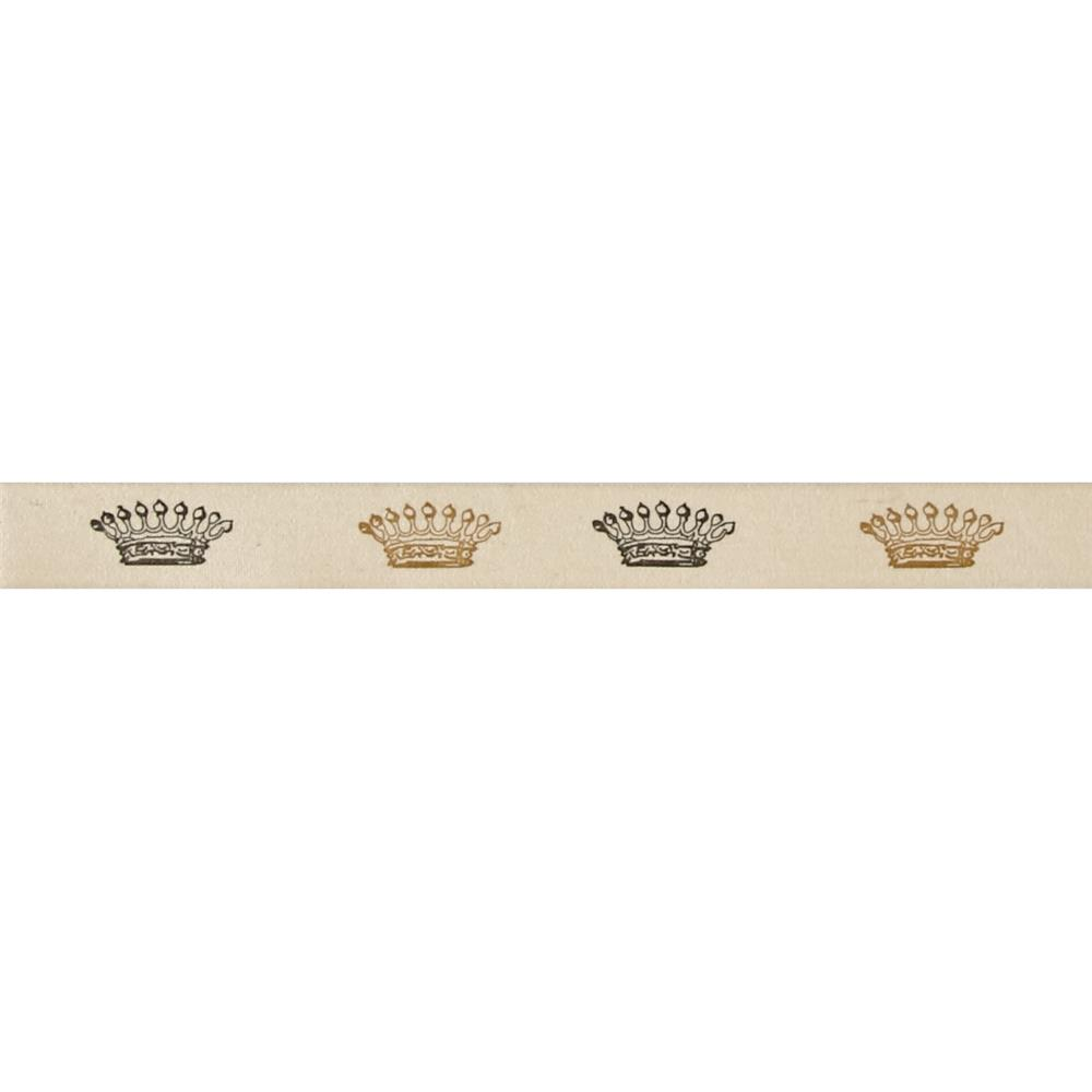 "3/4"" Woven Ribbon Crowns Ivory"