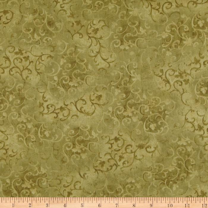 "108"" Wide Essentials Quilt Backing Scroll Olive"