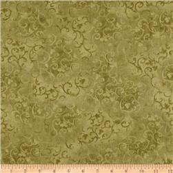 108'' Wide Essentials Quilt Backing Scroll Olive Fabric