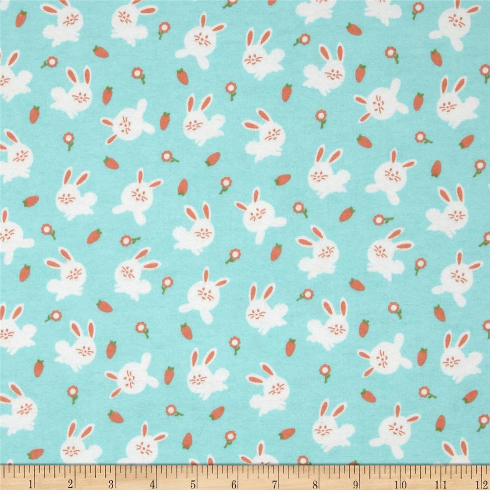 Michael miller baby flannel bunny love aqua discount for Cheap baby fabric