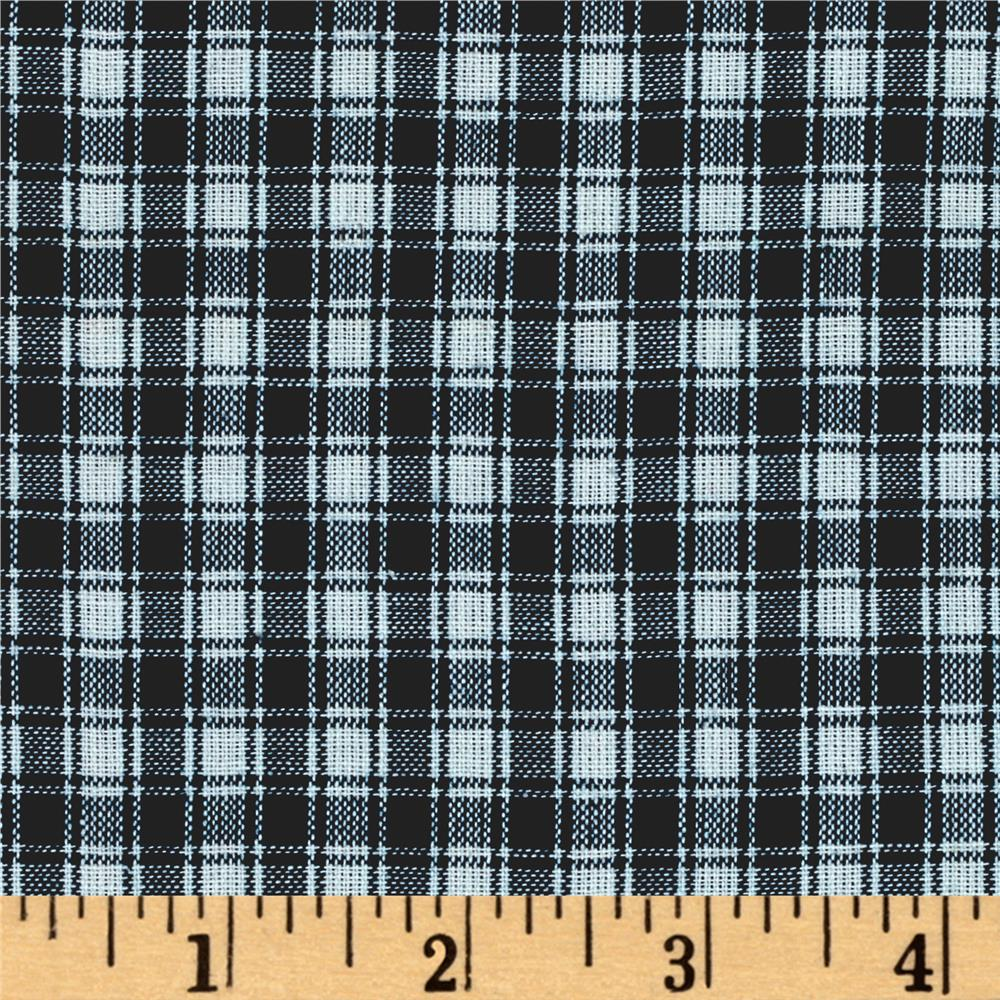 Rustic Woven Shirting Check Blue/White Fabric