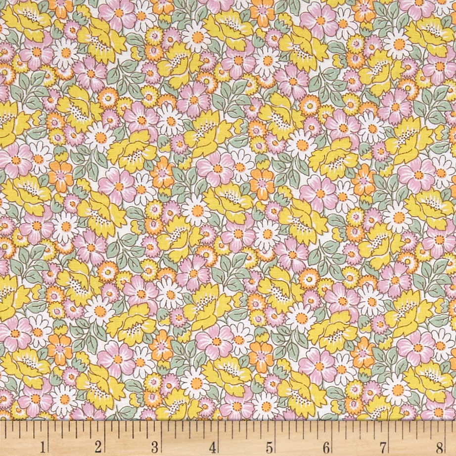 1930s Fashion Colors, Clothing & Fabric Nana Mae II 1930s Reproduction Packed Floral Yellow Fabric $7.98 AT vintagedancer.com