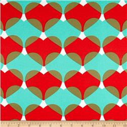 Stretch ITY Knit Heart Print Teal/Red