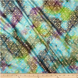 Indian Batik Montego Bay Medallion Metallic Aqua