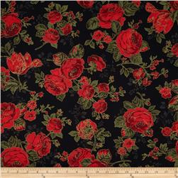 Season's Greetings Metallic Large Flowers Black/Red Fabric