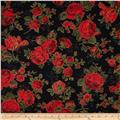 Season's Greetings Metallic Large Flowers Black/Red