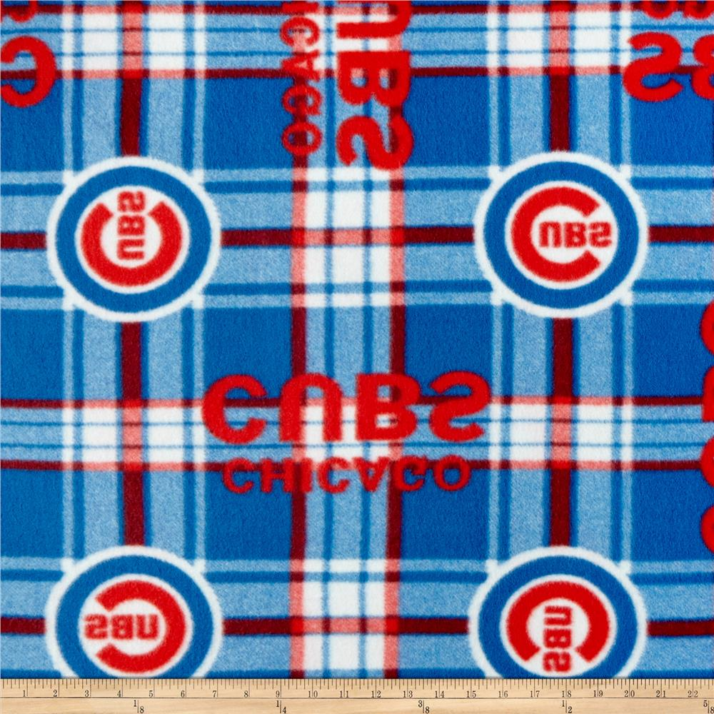 MLB Fleece Chicago Cubs Plaid Red/Blue Fabric By The Yard