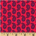 Joyful Leaf Paisley Navy on Red