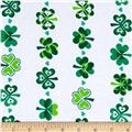 Kanvas Lucky Clovers Shamrock Stripe White
