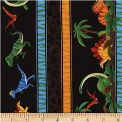 Timeless Treasures Dinosaur Stripe Black