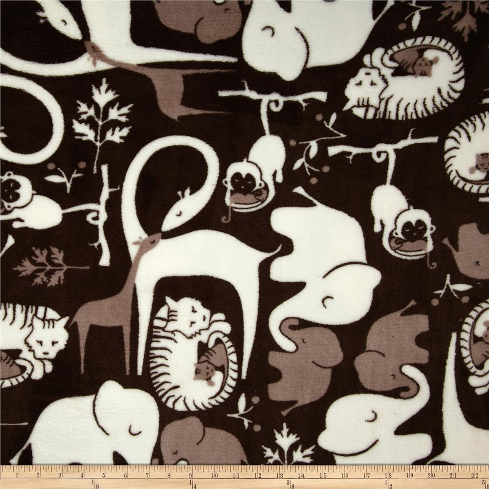 Plush Coral Fleece Zoo Animals Black/White Fabric By The Yard