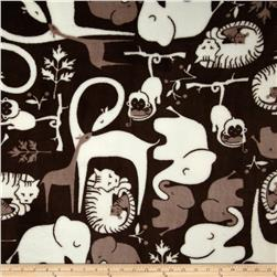 Plush Coral Fleece Jungle Jumbo Grey/White Fabric