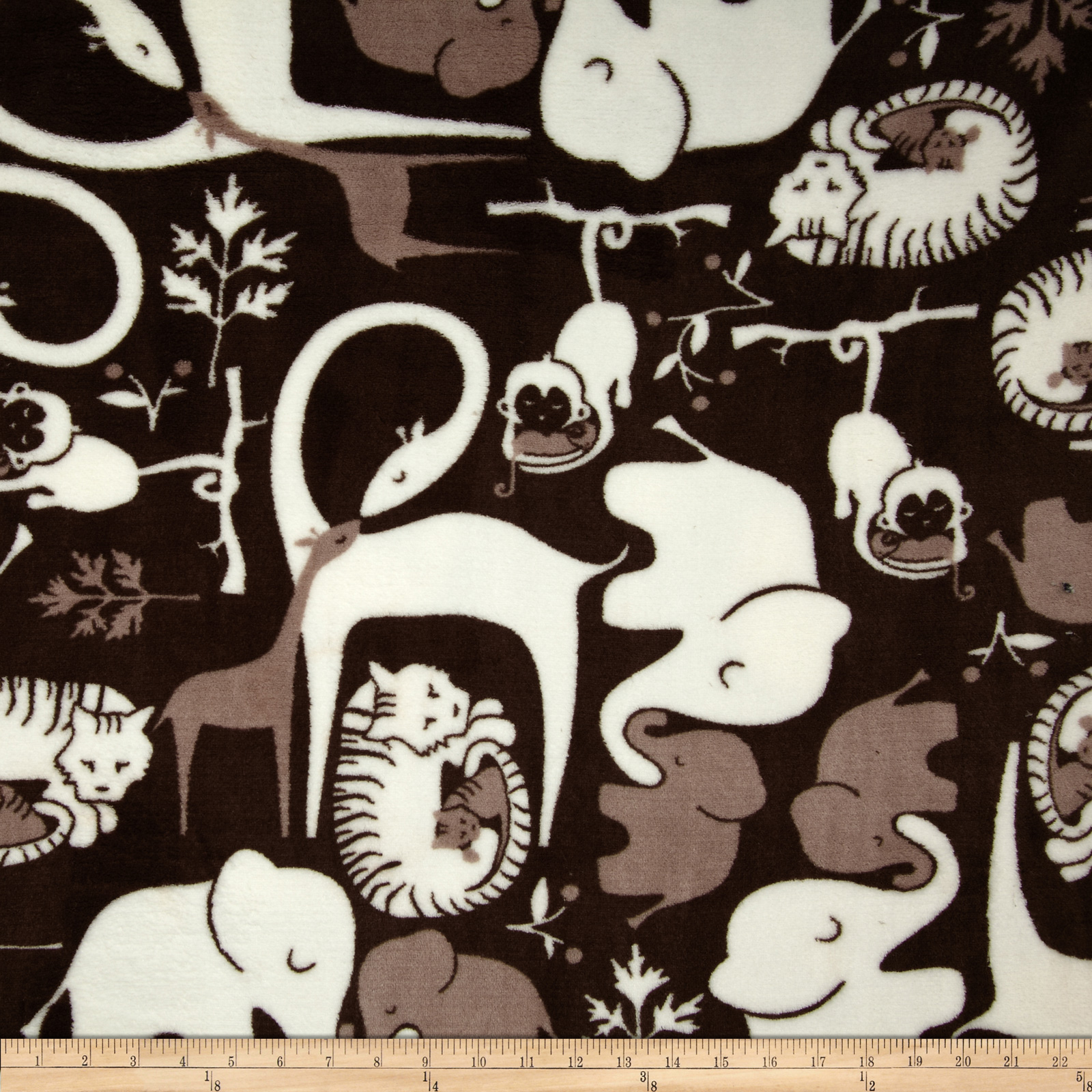 Plush Coral Fleece Zoo Animals Black/White Fabric by Eugene in USA