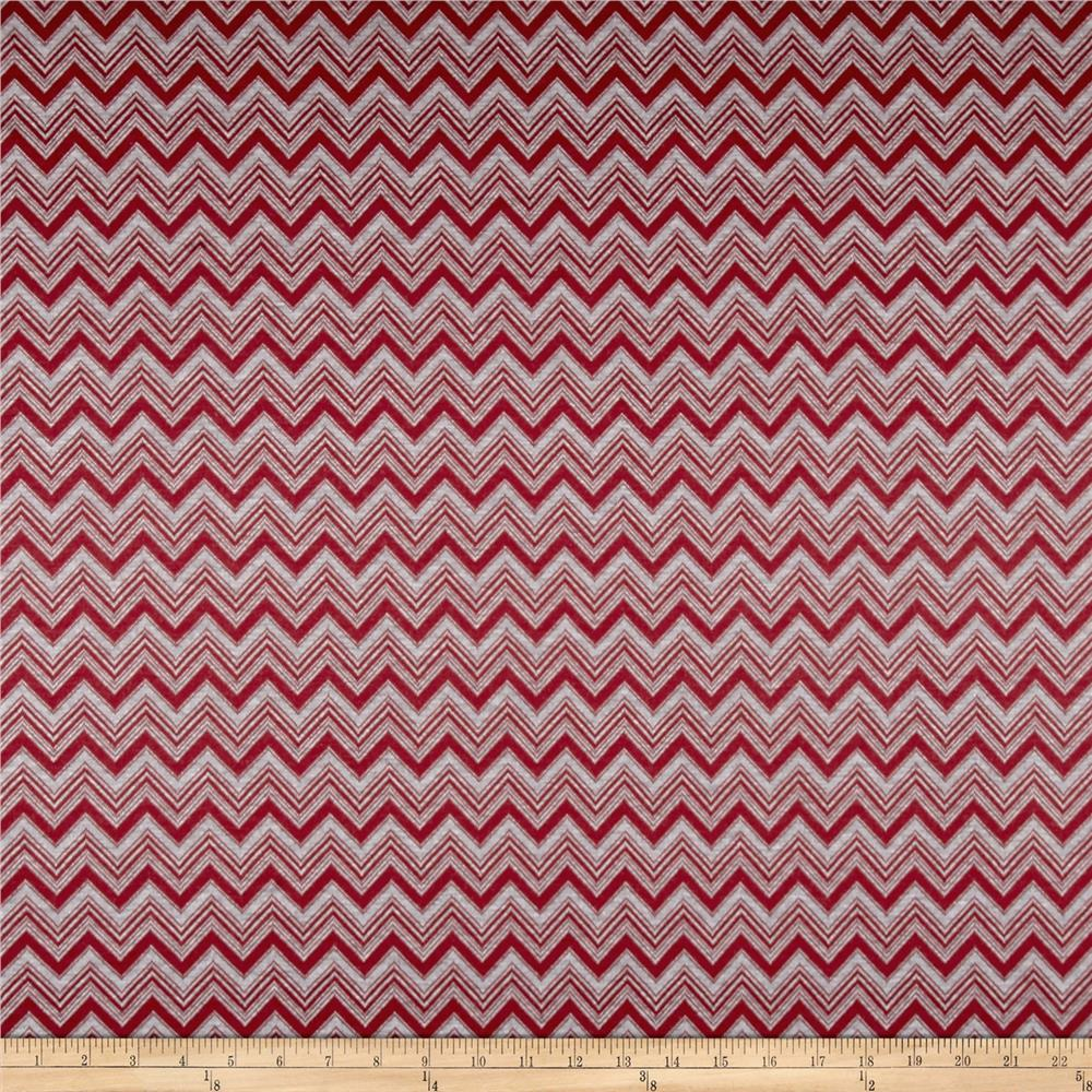 Vendor Issue Polyester Rayon Double Knit Chevron Red/Grey Fabric