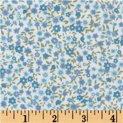 Printed Corduroy 21 Wale Ditzy Flowers White/Blue Fabric