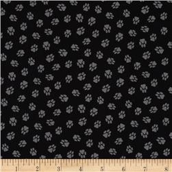 Dog Park Paw Prints Black Fabric