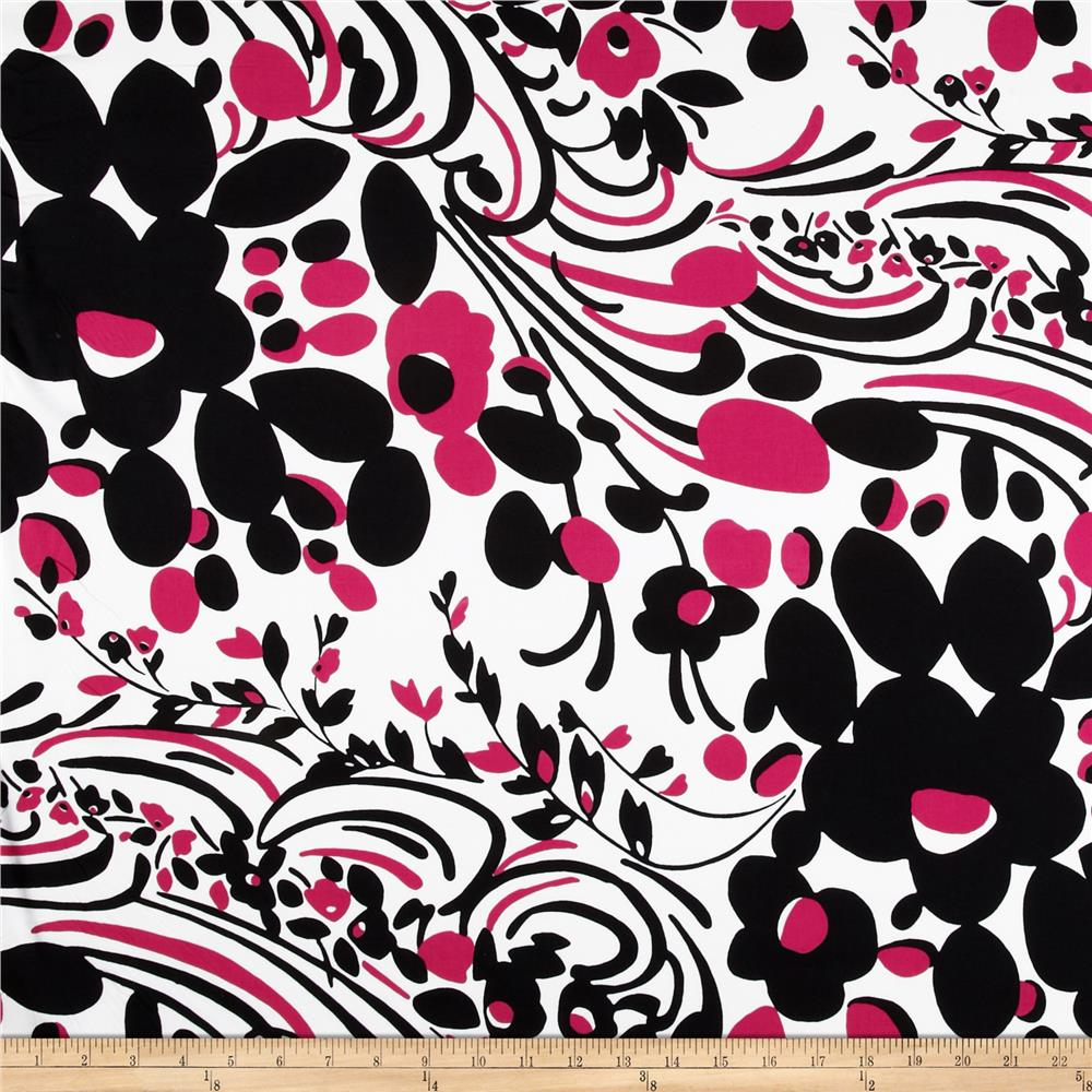Stretch Poplin Abstract Black/Hot Pink